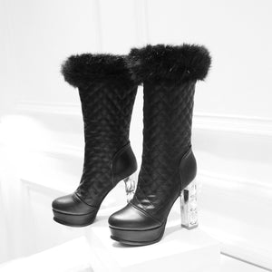 Fur Winter Snow Boots Rhinestone High Heels Platform Boots Shoes Woman