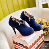 Chains High Heels Stiletto Heel Platform Boots 8345