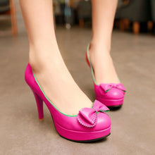 Load image into Gallery viewer, Round Toe Bowtie Women Platform Pumps High Heels Spike Jelly Shoes Woman