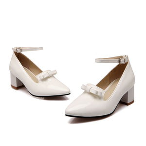 Ankle Straps Chunky Heel Pumps with Bow Platform High Heels Women Shoes 2235
