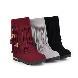 Women Tassel Mid Calf Boots Height Increasing Wedges Shoes Woman 2016 3514