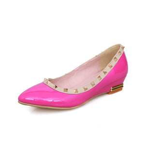Patent Leather Women Wedges Pointed Toe Pumps Studded Shoes