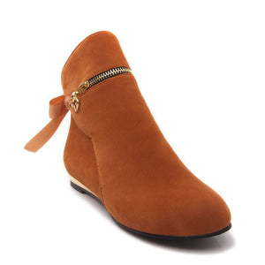 Ribbons Bow Ankle Boots Flats Heels Women Shoes 9168