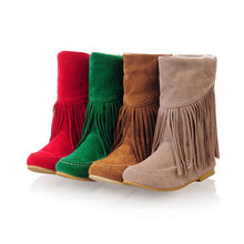 Load image into Gallery viewer, Tassel Snow Boots Winter Lamb Wool Wedges Shoes Woman 3340