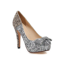 Load image into Gallery viewer, Glitter Women Pumps Platform Bowtie High Heels Wedding Shoes Woman