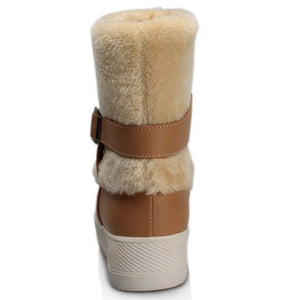 Fur Snow Boots Winter Buckle Wedges Shoes Woman