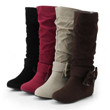 Load image into Gallery viewer, Bowtie Women Mid Calf Boots Wedges Fall|Winter Shoes Woman 2016 3371