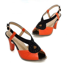 Load image into Gallery viewer, PU Leather Platform Sandals Women Pumps Rhinestone High Heels Shoes Woman