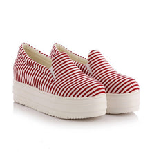 Load image into Gallery viewer, Round Toe Stripe Loafers Platform Shoes 2096