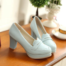 Load image into Gallery viewer, Round Toe Women Chunky Heel Pumps Platform High Heels Shoes Woman