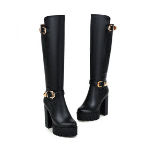 Round Toe Buckle Knee High Boots Platform High Heels Shoes Woman