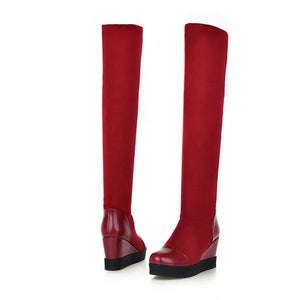 Women Over the Knee Boots Wedges Platform Shoes Woman 2016 3502