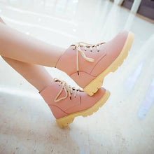 Load image into Gallery viewer, Pu Leather Ankle Boots Lace Up Shoes Woman 3277 3277