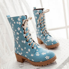Load image into Gallery viewer, Floral Printed High Heels Boots Lace Up Shoes Woman 3279 3279
