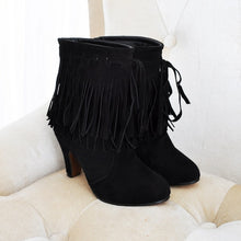 Load image into Gallery viewer, Round Toe Tassel High Heels Ankle Boots Women Shoes 6818