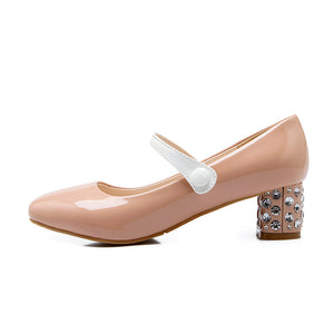 Women Pumps Medium Heel Patent Leather Mary Janes Shoes Woman 3424