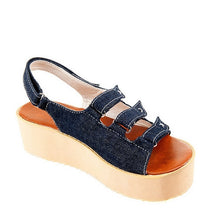 Load image into Gallery viewer, Denim Platform Sandals Hook Loop Women Wedges Beach Shoes