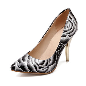 Pointed Toe Floral Printed High Heels Stiletto Heel Women Pumps 6499