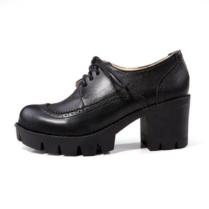 Soft Leather Women Pumps Round Toe High Heels Platform Shoes Woman