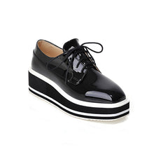 Load image into Gallery viewer, Patent Leather  Lace Up Platform High Heels Women Shoes 9614