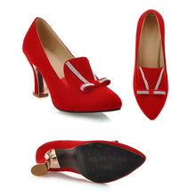 Load image into Gallery viewer, Pointed Toe Women Pumps Rhinestone Knot High Heels Shoes Woman