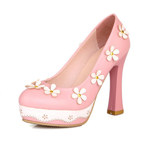 Flower Women Pumps High Heels Platform Shoes 9023