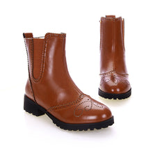 Load image into Gallery viewer, Round Toe Motorcycle Boots PU Leather Ankle Boots High Heels Shoes Woman 3343