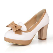 Load image into Gallery viewer, Bow Women Chunky Heel Pumps Platform Dress Shoes High Heels  9731