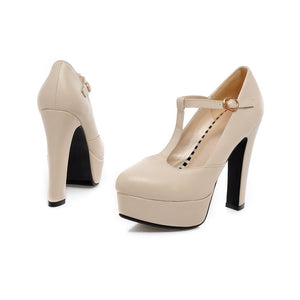 Women High Heels Shoes T Straps Platform Pumps 1711