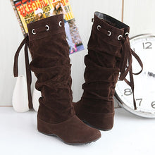 Load image into Gallery viewer, Back Lace Up Flats Knee High Boots Wedge Heels 6494