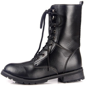 Black Motorcycle Boots Lace Up Ankle Boots Pu Leather Shoes Woman 3302 3302
