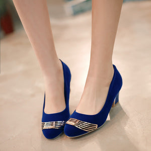 Women Pumps Sequined High Heels Medium Heel Shoes Woman 3426