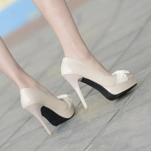 Load image into Gallery viewer, Women Platform Pumps Pointed Toe Bowtie Patent Leather High Heels Shoes Woman 3597