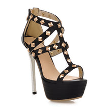 Load image into Gallery viewer, Studded-High-Heels-Sandals-Women-Pumps-Platform-Shoes 3203