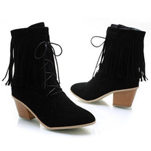 Load image into Gallery viewer, Tassel Lace Up Ankle Boots High Heels Shoes Woman