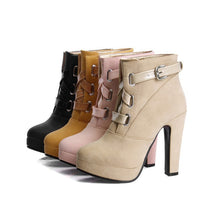 Load image into Gallery viewer, Buckle Women Ankle Boots Platform High Heels Shoes Woman 2016 3370