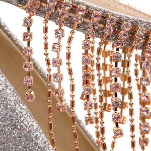 Rhinestone Tassel Ankle Straps Women Platform Pumps High Heels Wedding Shoes Woman