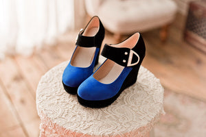 Women Wedges Mixed Colors Ankle Straps High Heels Platform Shoes 3528