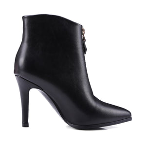 Pointed Toe Zipper High Heels Ankle Boots Spike Heel Women Shoes 76008606