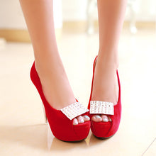Load image into Gallery viewer, Rhinestone Women Platform Pumps High Heels Peep Toes Stiletto Wedding Shoes Woman