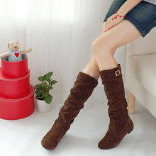 Load image into Gallery viewer, Buckle Faux Suede Knee High Boots Low Chunky Heels 2127