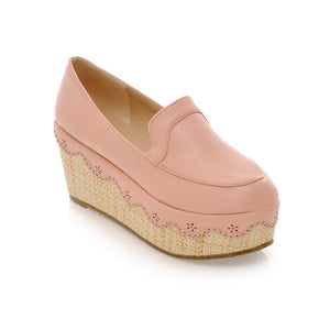 Round Toe Women Wedges Platform Shoes 9792