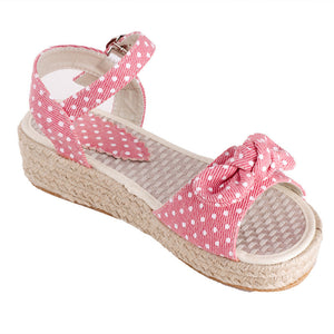 Polka Dot Platform Sandals Denim Ankle Straps Woven Wedges Shoes Woman