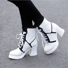 Load image into Gallery viewer, Lace Up Motorcycle Boots Platform Mixed Color High Heels Shoes Woman