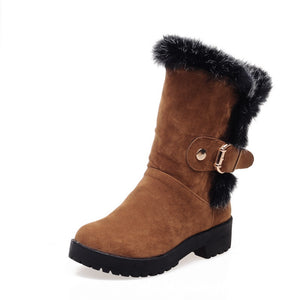 Rabbit Fur Women Boots with Buckle Women Shoes Fall|Winter 4408