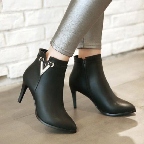 Pointed Toe Ankle Boots High Heels Women Shoes Fall|Winter 11191501