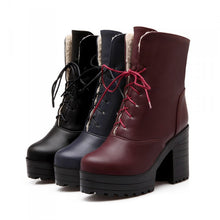 Load image into Gallery viewer, Women Ankle Boots Lace Up High Heels Thick Heeled Platform Winter Shoes Woman 2016 3566