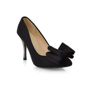 Bow Women Pumps High Heels Stiletto Heel Dress Shoes 8082