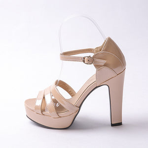 Platform Sandals Patent Leather Buckle Ankle Straps Women Pumps High Heels Shoes Woman 3445