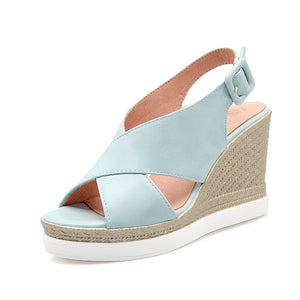 Women Sandals Buckle Wedges Platform High-heeled Shoes Summer
